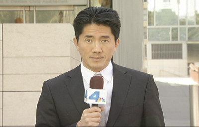 NBC4電視台新聞記者陳孟晉應邀在17日洛杉磯市府歡迎中國國家副主席習近平的大型午宴上擔任主持。(記者楊青/攝影)