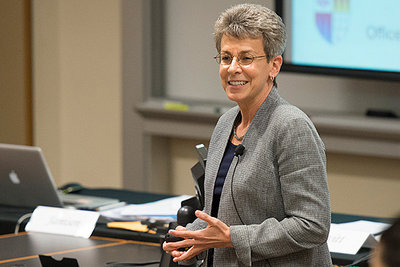 Patricia Gumport, vice provost for graduate education, speaking at the Faculty Senate meeting on Thursday.