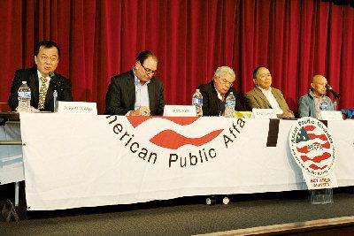 SCA5社區會議在庫比蒂諾舉辦,左起王彥邦、夏樂柏、李爾、王靈智、謝國器。(記者李榮/攝影)