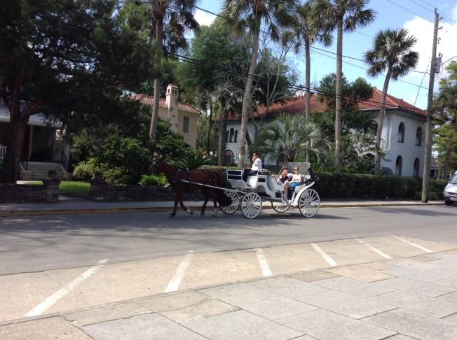 白色的馬車漫步在聖奧古斯汀古城街道上,感受到一種不一樣的風情。