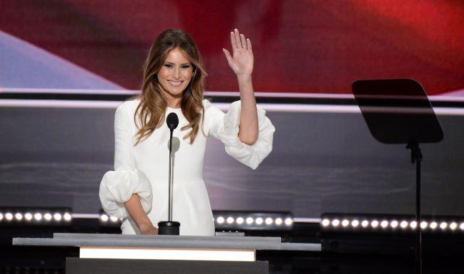 共和黨總統準提名人川普夫人美蘭妮18日在代表大會中發表講演。 (Getty Images)