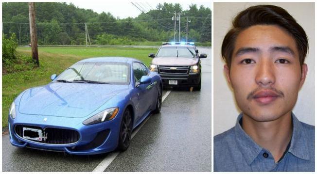 程思遠(右)與他被捕時駕駛的跑車。(當地警方提供)