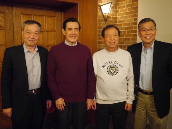 馬英九、與安排這次訪美行程的劉偉民(左三)及應邀出席的張漢昇(左一)、劉其筠合影。(黃惠玲攝)