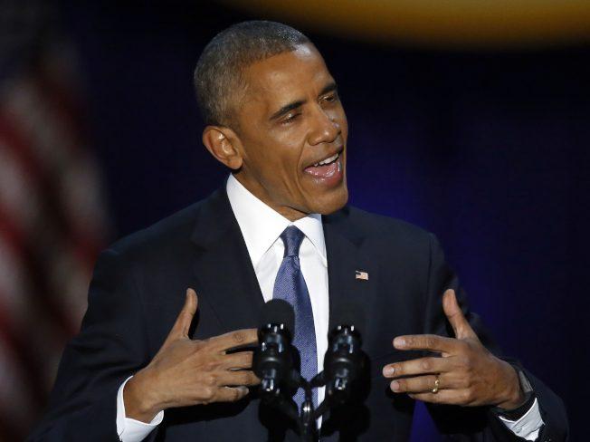 欧巴马告别演说。(美联社)