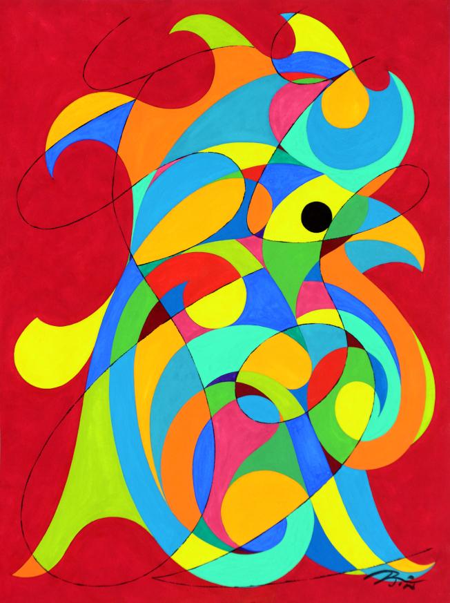 金佩良現代水彩畫作「金雞報喜」。(記者許振輝/攝影)