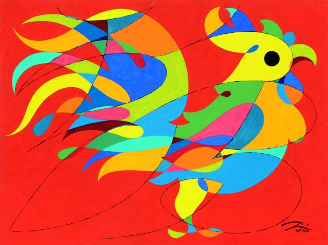 金佩良現代水彩畫作「飛鳳在天」。(記者許振輝/攝影)