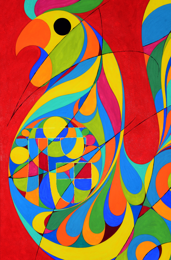 金佩良現代水彩畫作「金雞獨立」(局部)。(記者許振輝/攝影)