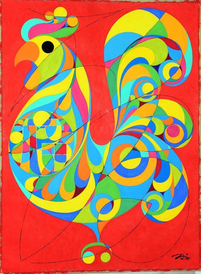 金佩良現代水彩畫作「金雞獨立」。(記者曾慧燕/攝影)
