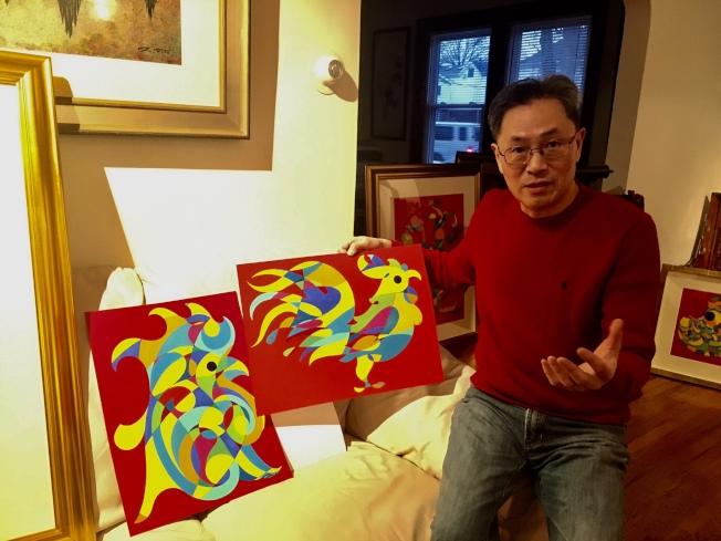 金佩良追求一幅畫就是一首詩,達到「畫中有書(法),書中有詩,書中有畫,畫中有詩,書中有書」的藝術境界。(記者曾慧燕/攝影)