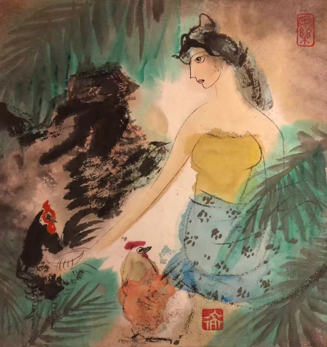 虞世超雞年畫作「少女與雞」,色彩絢麗。(虞世超提供)