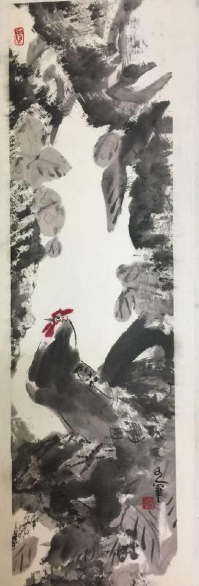 虞世超雞年畫作。(虞世超提供)