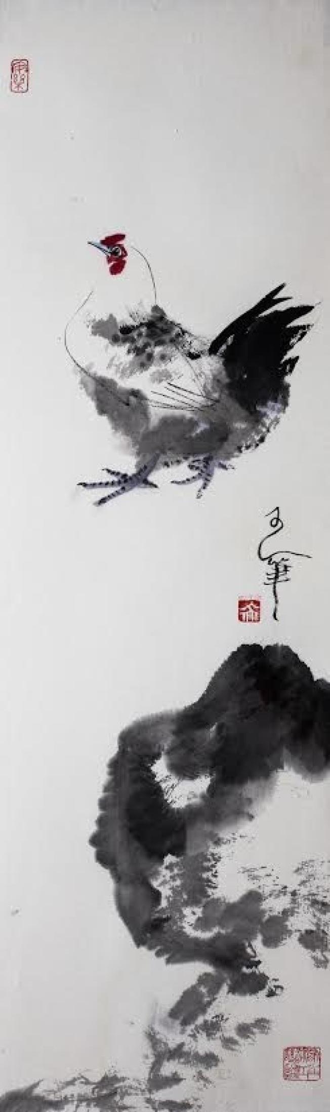 虞世超雞年畫作。王安石「飛來峰上千尋塔,聞道雞鳴見日升」。 (虞世超提供)