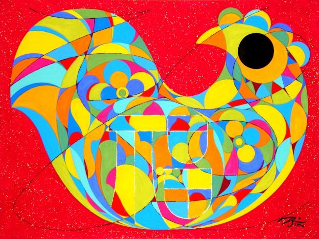 金佩良現代水彩畫作彩鳳報喜,畫的是一隻正在孵蛋的金雞母,雞的下半部由一個個橢圓形的「雞蛋」組成,非常寫實。(金佩良提供)