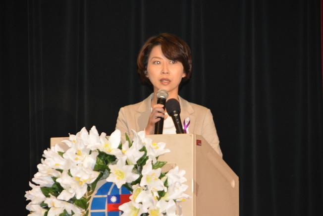 立法委員陳亭妃蒞臨南加州二二八紀念活動。(記者莊婷╱攝影)