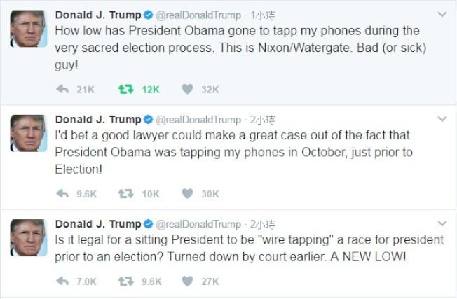 川普推文指控選前遭歐巴馬竊聽