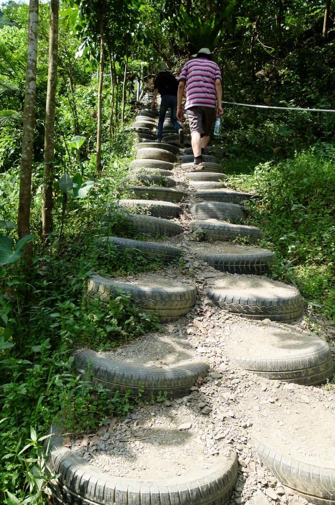沿山而上的步道時有階梯、陡坡,爬山人應使用不同的步法。(記者翁禎霞/攝影)