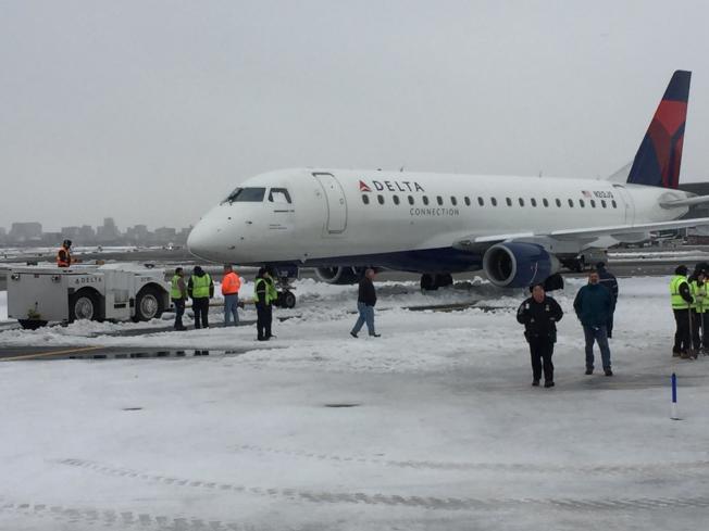 一架由芝加哥飛抵紐約市的達美班機,18日上午11時25分在落地後從跑道上滑入旁邊的雪堆之中。(圖取自推特)