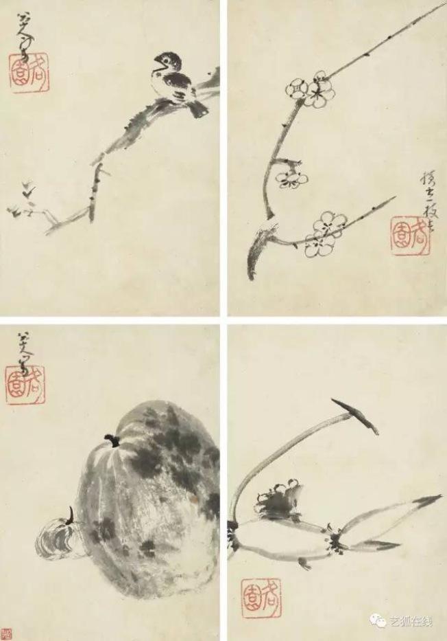 蘇富比拍賣朱耷的水墨畫「花鳥魚果」十二開冊,估價250萬至350萬元,以313萬2500元成交,摘得全場拍賣榜首。(紐約蘇富比)