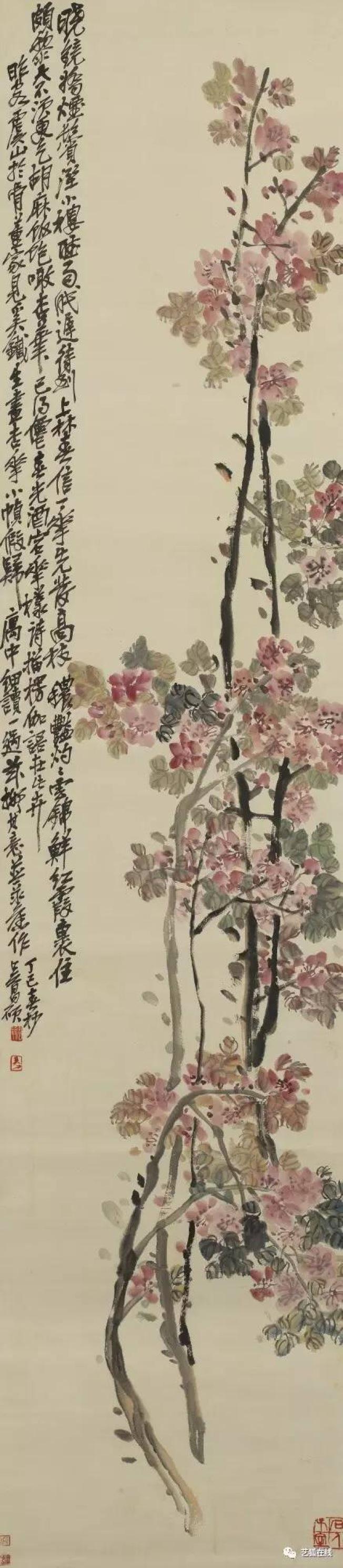 吳昌碩(1844-1927)「杏花」,設色紙本立軸,估價6萬至8萬元,成交價17萬5000美元。(紐約蘇富比)