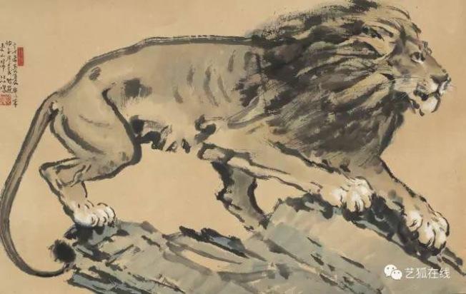 徐悲鴻(1895-1953)「雄獅」,估價15萬至20萬元,成交價82萬8500美元,為全場拍賣最高價。(紐約蘇富比)