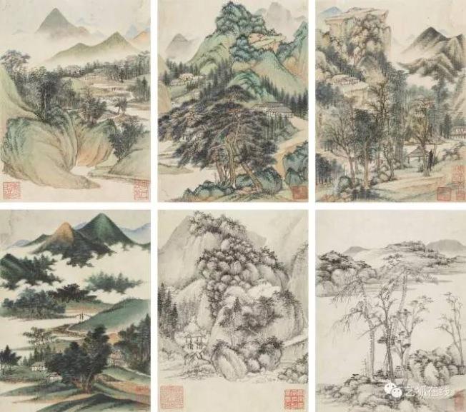 王鑒(1598-1677)仿古山水,設色紙本十開冊,估價50萬至80萬美元,成交價61萬2500美元。(紐約蘇富比)