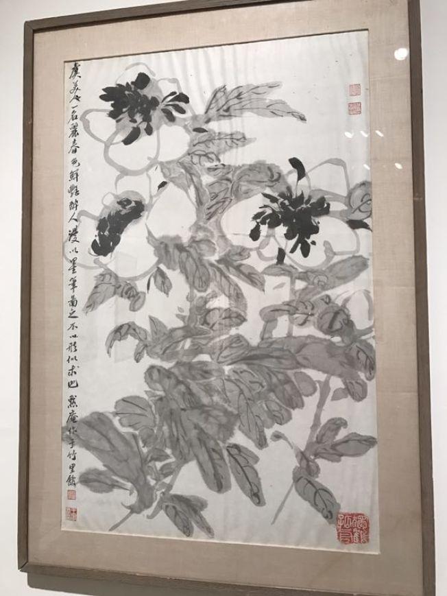 已故紐約華裔書畫家王己千,也是國際知名的收藏大家,其一幅水墨畫「虞美人 」,估價8000元至1萬元,成交價1萬6250元。(記者曾慧燕/拍攝)