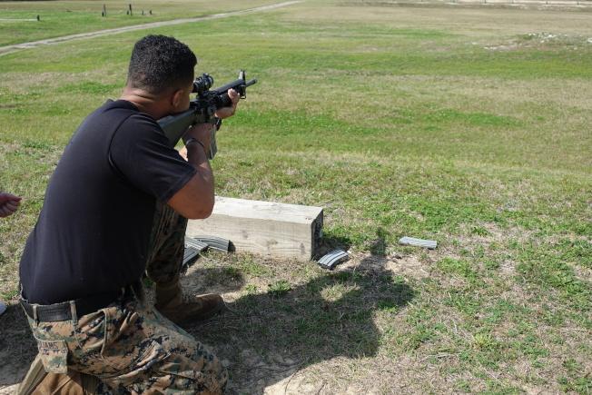 射擊是新兵訓練的重頭戲。(記者金春香/攝影)