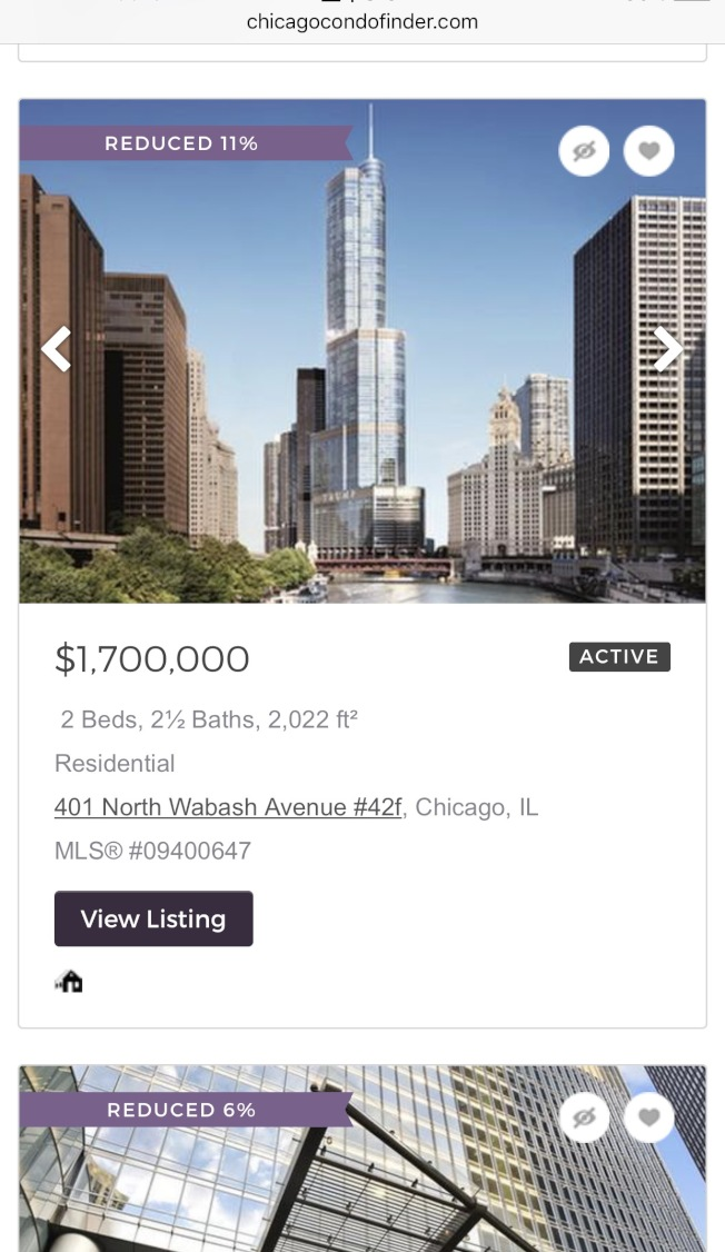 芝加哥公寓租售網站中,18日共有61個川普大樓房產物件求售,其中不少都打上降價標示。(chicagocondofinder截圖)