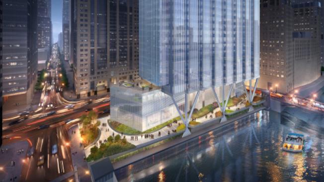 芝加哥計畫委員會批准,將市中心威克街上的「普增大樓」改建為一個51層大廈,同時包括增修湖濱步道。(取自Goettsch Partners官網)