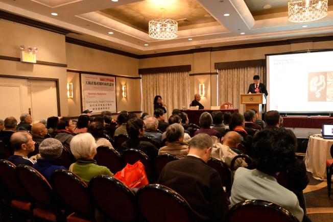 紐約長老會皇后醫院與世界日報18日聯合主辦「大腸直腸相關疾病的認知」講座,超過150人聆聽。(記者朱澤人/攝影)