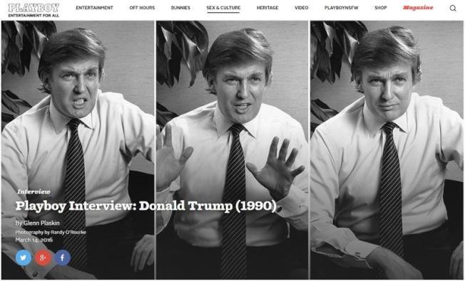 川普43歲時曾接受花花公子雜誌專訪,談到他的世界觀和若當總統要如何領導等,如今該篇文章已成全球領袖拜讀的重要參考。(圖取自花花公子網站 www.playboy.com)