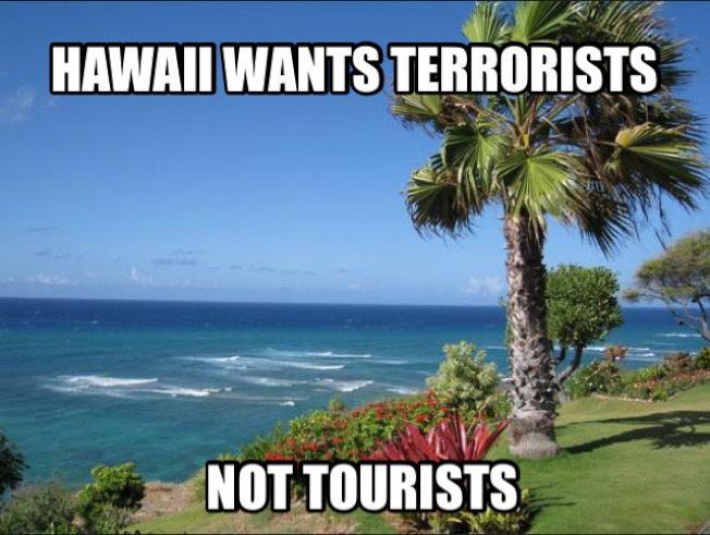 川普支持者在網上抵制夏威夷。(Twitter圖片)