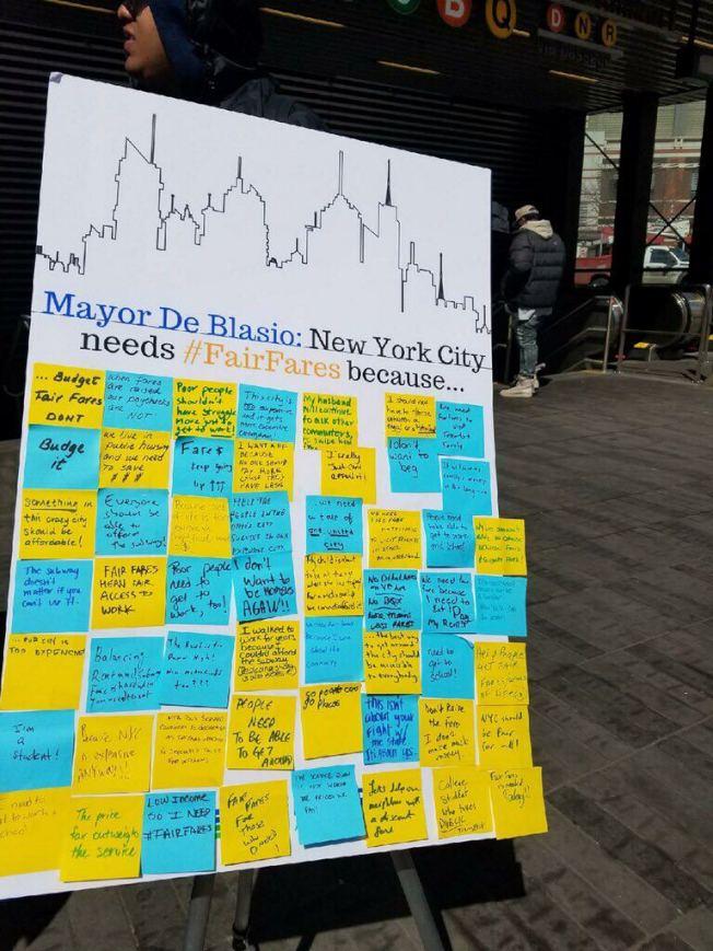 乘客聯盟收集的民眾對於紐約公共交通的心聲。(乘客聯盟提供)