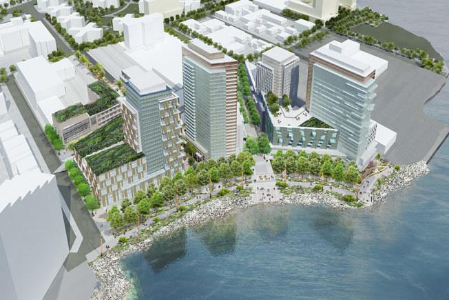「Astoria Cove」計畫建五棟樓為主體的商住生活區。(「Astoria Cove」建築設計公司Studio V Architecture提供)