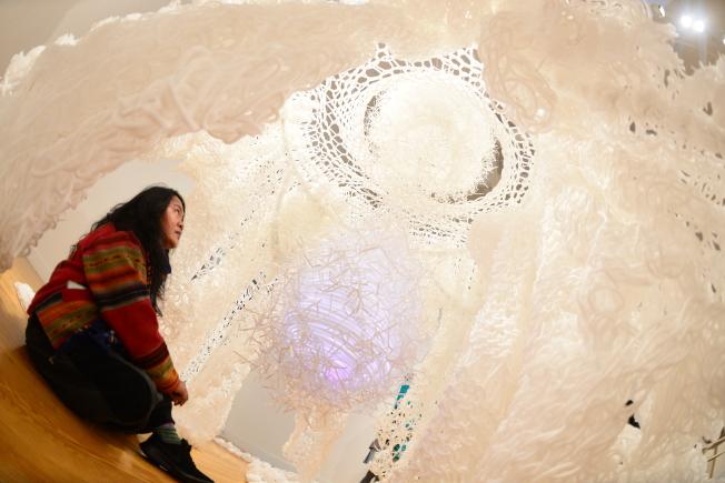 安聖惠與蔬果袋為材料的作品「夢與夢之間」。(記者許振輝/攝影)