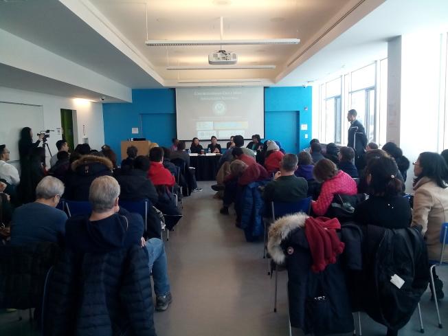 不同族裔的民眾出席孟昭文主持的社區移民會議。(記者韓傑/攝影)