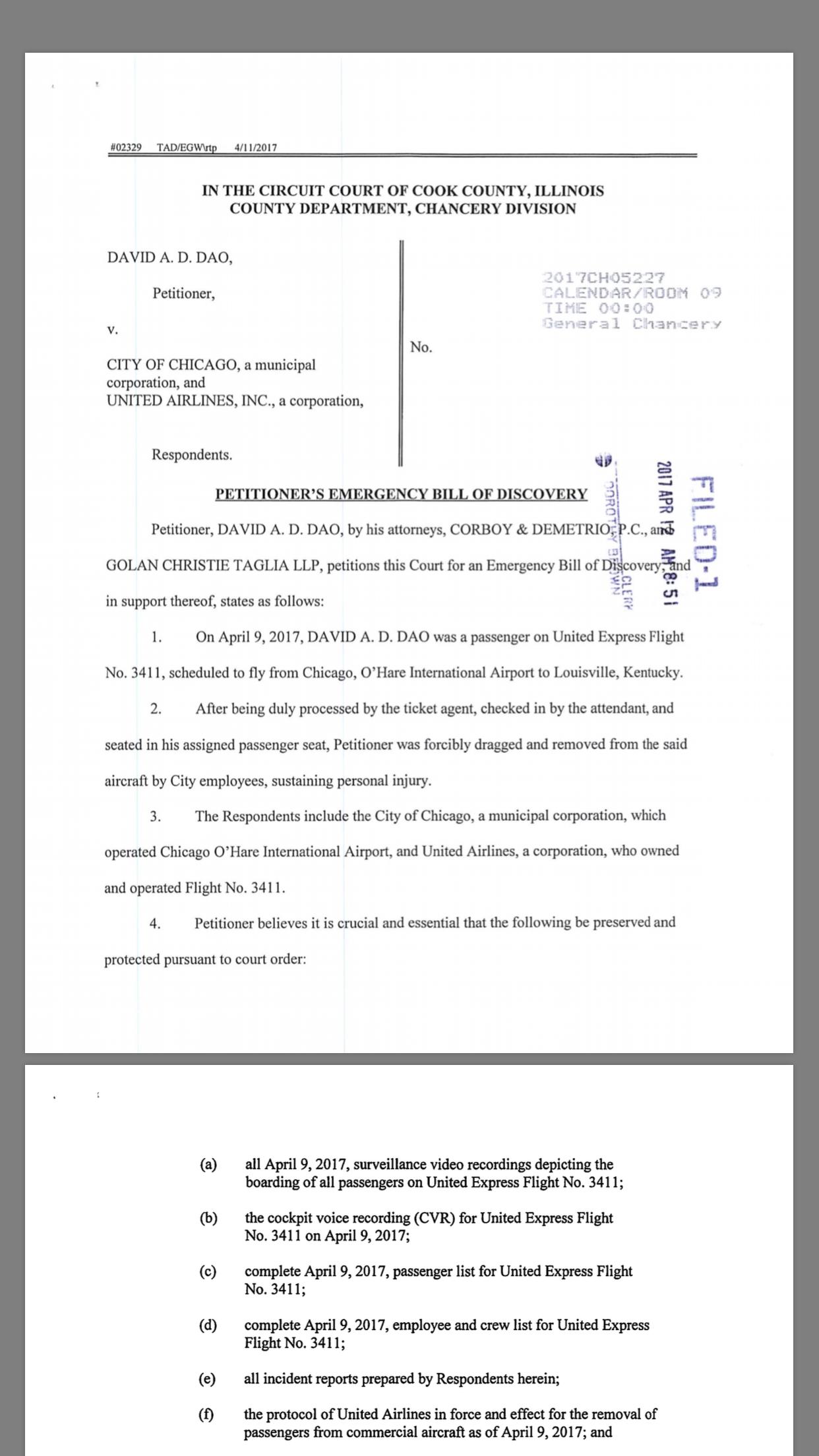 杜成德透過律師向庫克郡法院提出緊急訴願,要求保留事證。(法院文件截圖)
