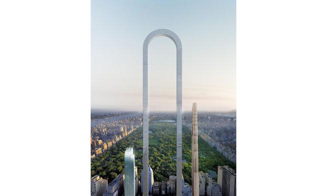 Oiio工作室設計的「大彎」U型大樓的設計圖,打造世界上最長的建築。(取材自Oiio官網)