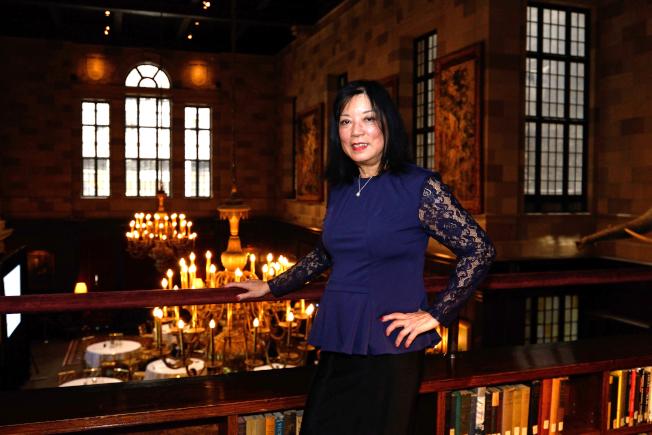 陳翠芳今年2月在曼哈頓哈佛俱樂部接受本報專訪。(記者朱澤人/攝影)