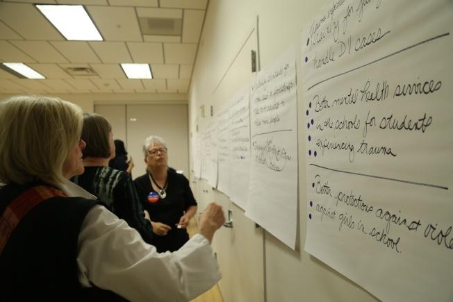 馬州婦女委員會「婦女之聲傾聽之旅」來到蒙郡,主辦方匯總婦女關心議題,再現場投票選出最重要的關切。(記者羅曉媛/攝影)