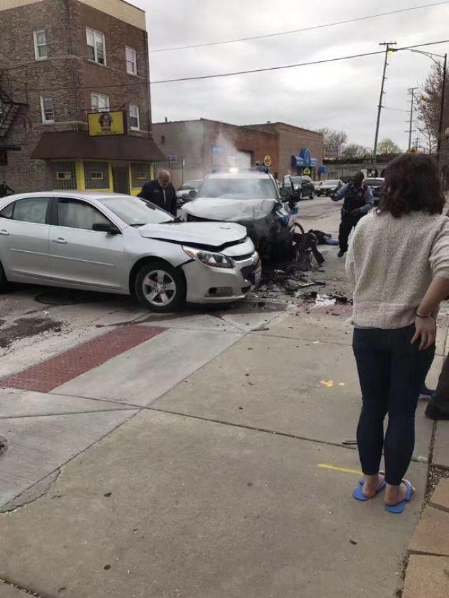 芝加哥華埠日前發生槍案,受害人在中槍後發生車禍,導致一人死亡。(讀者提供)