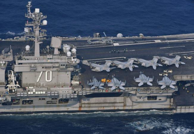 美航母抵朝鮮半島 與南韓軍演