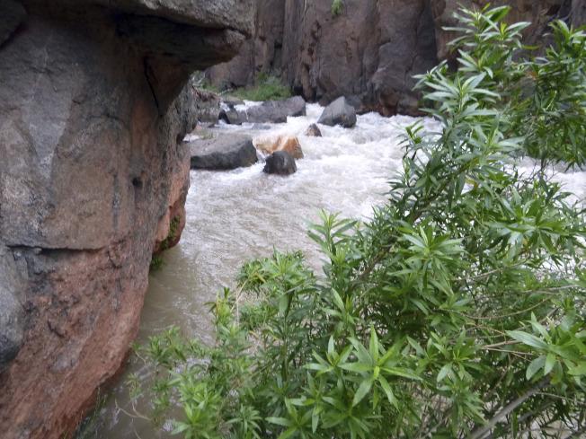 史坦德福和祖母在超越大峡谷这条溪水时失足,让溪水冲走。(美联社)