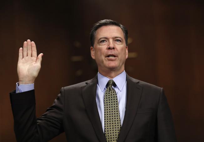 主圖聯邦調查局長柯米在國會作證。(美聯社)