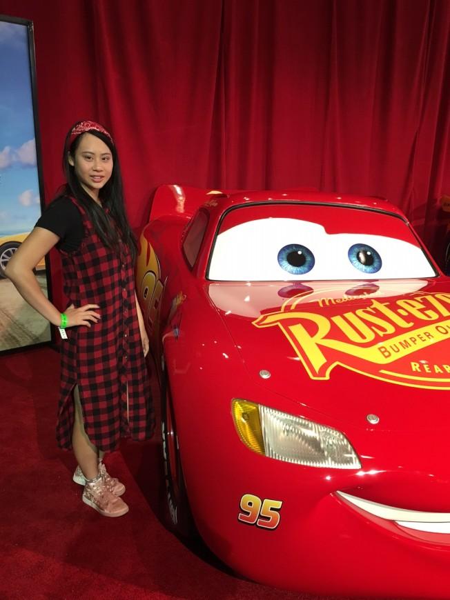 蕭靖彤近日也繼續以記者身分,出席迪士尼「賽車總動員」記者會。(記者馬雲/攝影)