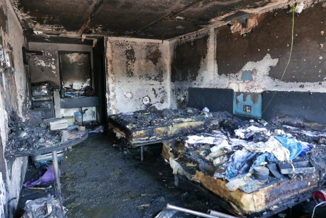 案發房間已被完全炸毀。(記者李雪/攝影)