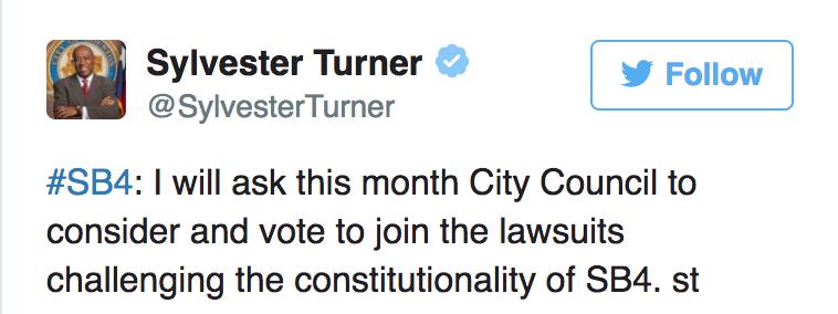 休士頓市長特納在社交媒體上公開表示希望聯合市議員一起控訴州政府。(取材自特納推特)