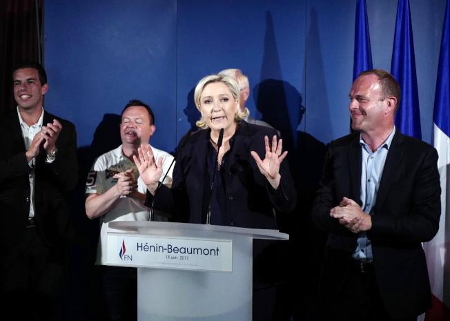 民族陣線黨魁瑪蘅.雷朋18日在法國國會第二輪選舉結束後發表演說。(美聯社)
