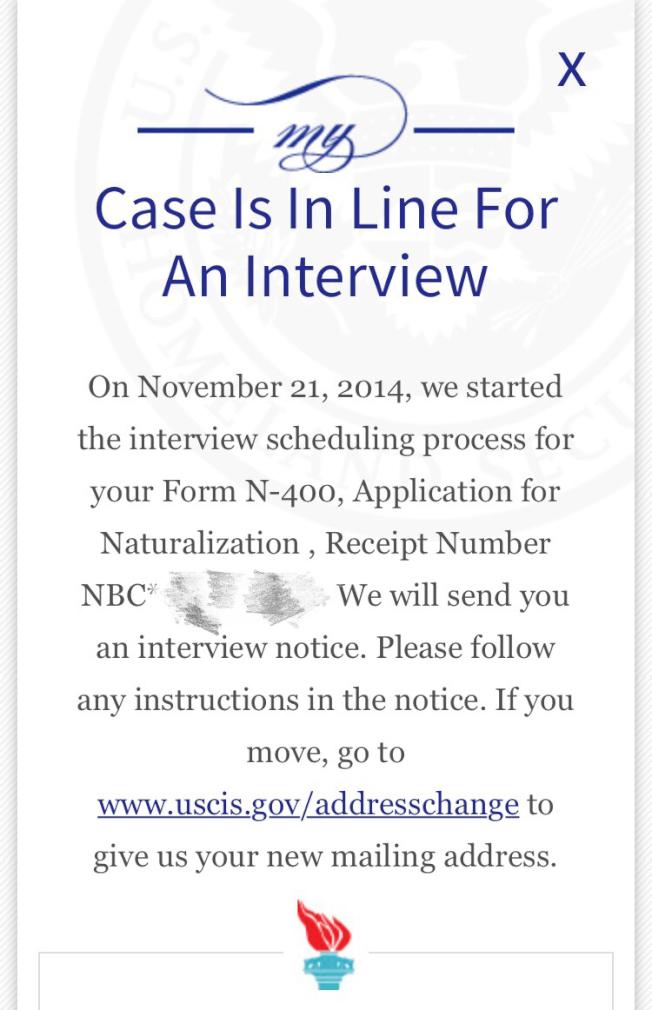 黃先生2014年遞表申請入籍,至今無回音。(手機截屏)
