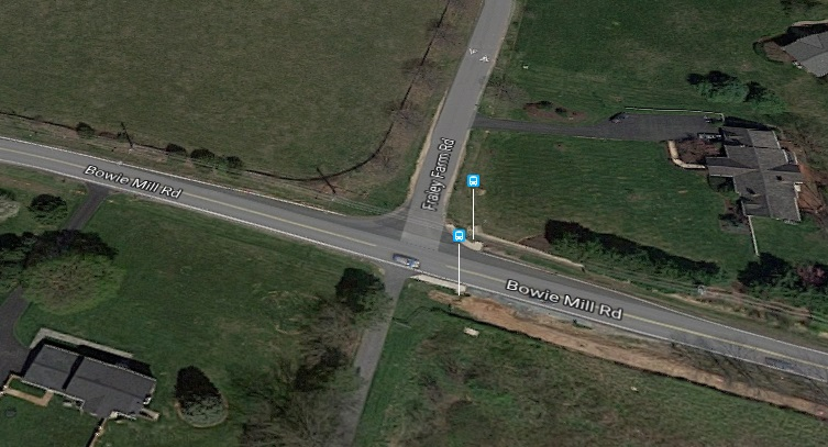 馬州翁尼鎮Bowie Mill 路和Fraley交會路口車禍,華人家庭一死二傷。(谷歌截圖)